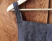ONLY ONE - Minimalist Linen Apron in yarn dye striped linen; Artist's Smock; Cross back apron; Japanese Pinafore