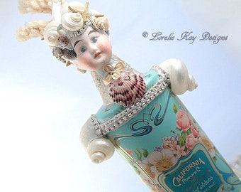 California Mermaid Art Doll Sculpture Shell Art  Assemblage Art Doll Mermaid Mixed Media Lorelie Kay Original