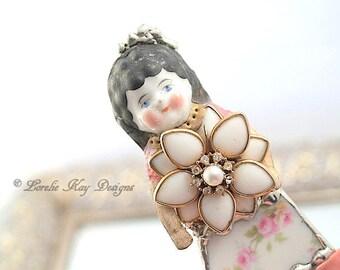 Ivy Doll Brooch Ornament Broken China Art Doll Flowers Mixed Media Soldered Rhinestone Girl Broach