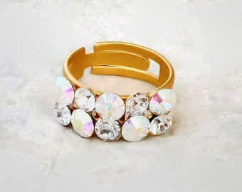 Swarovski crystal  two row fancy stone ring clear crystal and clear crystalAB,yellow gold plated matte adjustable size
