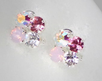 Swarovski crystal pink rose and clear crystal  bright  silver  plated clipon earrings