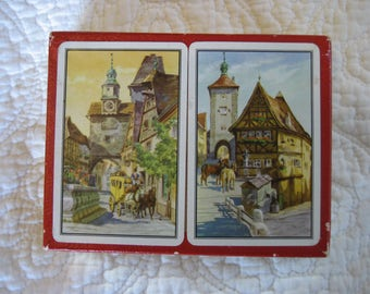 2 vintage decks Piatnik playing cards Rothenburg Germany original box good to trade