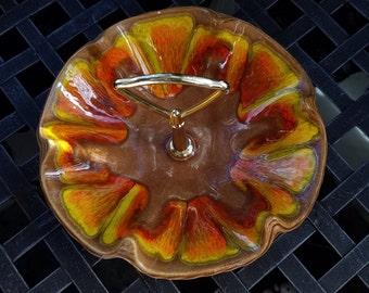 Vintage USA Pottery Snack Nuts Candy Dish, Mid Century, Orange Yellow Drip Glaze