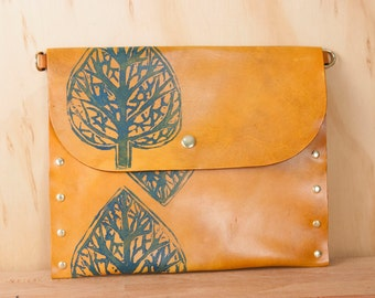 Leather Pouch - Handmade Clutch, Wristlet, Waist Bag or Crossbody in the Leaf pattern - Blue and Antique Tan