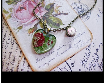 A Rose For My Lovely, heart pendants, vintage inspired pendants, gift boxed, heart pendants, valentine gifts, hearts, flowers