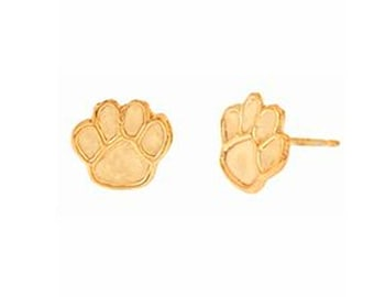 14k yellow or white gold plated small paw post earrings. Cute, trendy, under 10, on sale, teen, gift for her, pet, cat, dog, tiny, studs