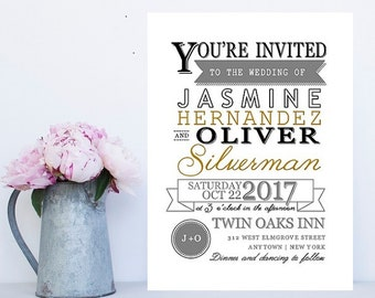 Hipster Wedding Invitation - Hipster Wedding Invitations - Fun Wedding Invitation - Modern Wedding - Modern Wedding Invitation