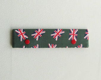 Knitting Needle Keeper DPN Cozy for 6 inch needles, Union Jacks on green