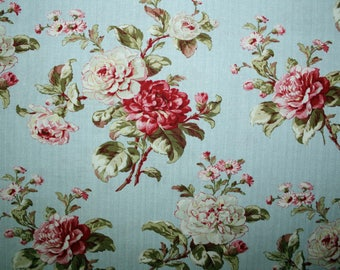 Flowers on Blue, Flowers, Floral Fabric, Sewing, Quilting, Quilting Fabric, Sewing Fabric, Fabric, Red Rooster Fabrics, Mrs. Miniver