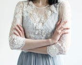 Sample sale- Beaded lace appliqué flower wedding top separate - 3-4th Sleeve