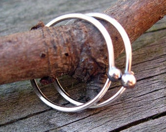 20% OFF TODAY Budded sterling silver open hoops