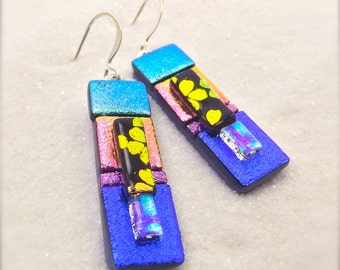 Earrings, Statement jewelry, Hana Sakura Designs, Dichroic earrings, Fused glass jewelry, Unusual earrings, creative jewelry, trending now