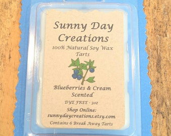 Blueberries and Cream Scented 100% Natural Soy Wax Break Away Tarts 3 oz