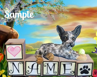 Australian Cattle Dog / Blue Heeler PERSONALIZED with your dog's name on blocks by Sally's Bits of Clay