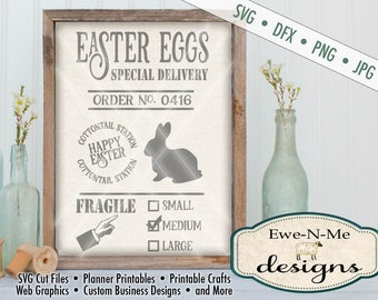Easter Egg SVG - Easter Bunny svg - Easter SVG - farmhouse easter cut file - easter egg delivery svg - Commercial Use svg, dfx, png, jpg