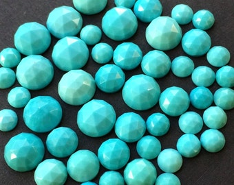 Gemstone Cabochon Turquoise 4mm Rose Cut FOR FOUR