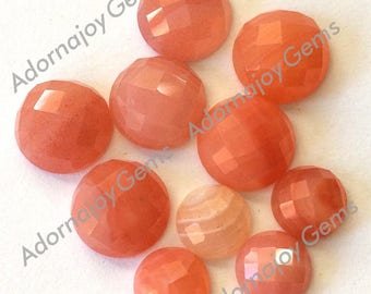 Gemstone Cabochon Agate Apricot 6mm Checkerboard FOR TWO