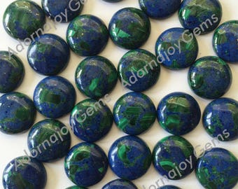 Gemstone Cabochon Azurite Malachite 12mm Round Green Blue FOR ONE