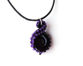 Black and Purple Octopus Tentacle Necklace Polymer Clay Pendant