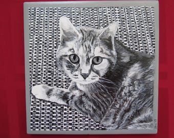 Pet Portrait 6 x 6 inch Ceramic Tiles Hand Painted and Made to Order Grey Tone Calico by Shannon Ivins