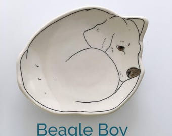 Dessert Plate, Puppy, Beagle, porcelain plate MADE TO ORDER