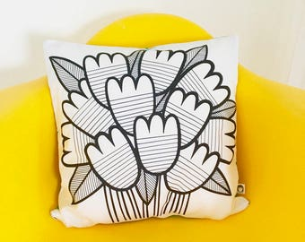 New Scandi Retro Tulips Fabric Cushion Cover by Jane Foster - Monochrome