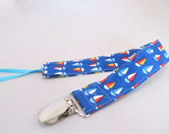 Universal Fabric Pacifier & Toy Clip - Mini Sailboats - Nautical - Paci Clip, Teether Clip, Binky Clip, Baby Shower Gift