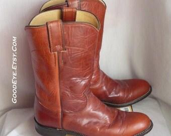 Vintage JUSTIN Roper Boots WAXED Leather Cognac / Ladies size 7 .5  narrow Eu 38 Uk 5   / Mens 6 .5 b-width  Rockabilly Cowboy Western USA