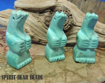 Turquoise color Standing Bear focal bead Large 34 x 14 mm Necklace Pendant Dream Catcher