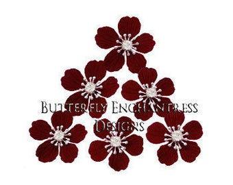 Burgundy Hair Flowers, Floral Hair Accessories, Set of Six Summerlynn Cherry Blossom Flower Hair Pins