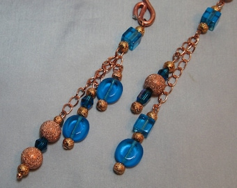 Copper and Lucious Blue Ear Cuff Ear Wrap