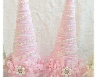 Chenille Christmas TREE PINK Chic Cottage Shabby ECS svfteam