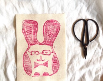 linoprint, linoprint patch, fabric patch, fabric, blockprint, linocut, handprinted, patch, bunny, rabbit, easter,