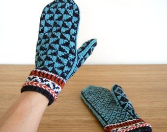 Wool Mittens, Scandinavian Mittens, Knitted Mittens, Norwegian Mittens, Fair Isle Mittens, Handmade Mittens, Nordic Mittens