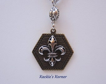 Necklace Fleur de Lis Silver & Antique Brass