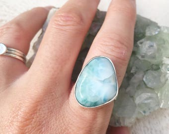 Larimar ring // size 8 // one of a kind // made in byron bay // recycled sterling silver