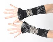 Ruffled cuffs, Black and grey jersey cuffs with black ruffles, Long black and grey floral cuffs, Womens accessories, Gift for her, MALAM