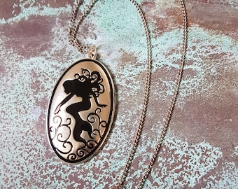 Mermaid Necklace, Mermaid Jewelry, Silver, Black, Silouette, Pendant, Charm, Ocean Nymph, Beach, Sexy, Siren, Sea, Goddess FREE SHIPPING