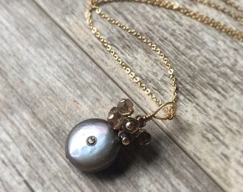 Pearl Necklace Gemstone Pendant Necklace Smoky Quartz Pendant Topaz Pendant Necklace 14k Gold Filled Necklace Gold Wire Wrapped Necklace