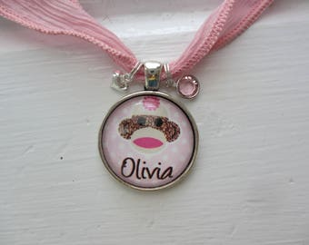 Personalized Pink Sock Monkey Pendant Necklace