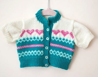 Vintage Baby Sweater / Vintage Baby Cardigan / Teal and Pink Baby Sweater / 0-6 Months