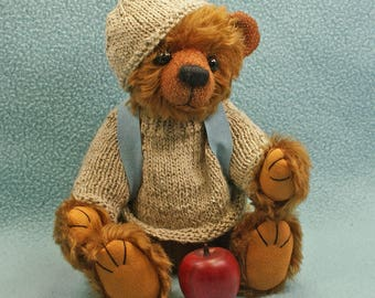 Johnny  Artist teddybear mohair jointed hand knit sweater