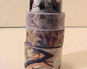 Washi Tape 4 rolls decorative masking 30mm, 15mm, 18mm #12 scrapbook journal deco supply destash 4 designs