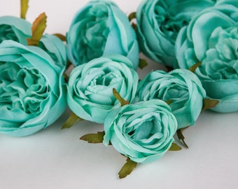 Set of 9 Small to Large Cabbage Roses in Mint Blue - Silk Artificial Flowers -read description- ITEM 01034