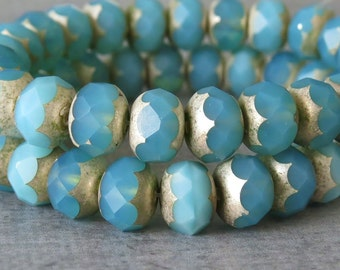 Aqua Opal Matte 9x6mm Czech Glass Bead Faceted Rondelle : 12 pc Aqua Silver Rondelle