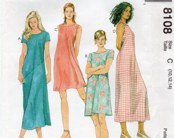 McCall's 8108 Misses Dress In Two Lengths Uncut Pattern Size 10-12-14 Copyright 1996