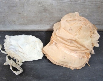 Free Shipping Lot of 2 vintage Baby  Bonnets as found cottage Ecru Cream Lace Very Old