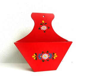 Vintage Wooden Coffee Filter Holder - Red Wood Kitchen Decor Wall Hanging - European Scandinavian Style Handpainted Tole Flowers