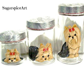 Yorkie Handpainted Canister Set Home Decor Dog Art by SugarspiceArt