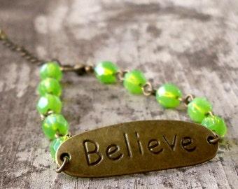 """Jewelry - Gift for Her - Gift for Mom - Beaded Bracelet - """"Believe"""" Bracelet - Women's Bracelet - Inspirational - Green Bracelet"""
